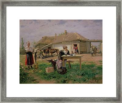 Arrival Of A School Mistress In The Countryside, 1897 Oil On Canvas Framed Print by Vladimir Egorovic Makovsky