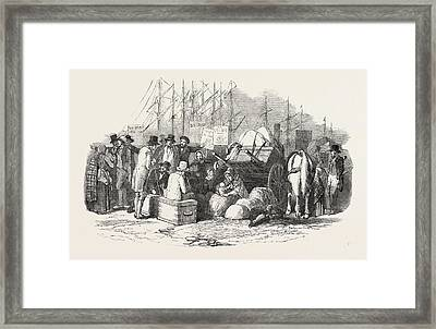 Arrival Of Emigrants At Cork, A Scene On The Quay Framed Print by Irish School