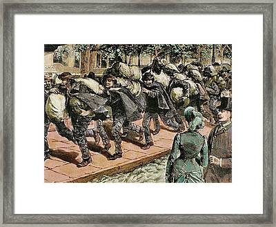 Arrival Of Italian Immigrants To New Framed Print