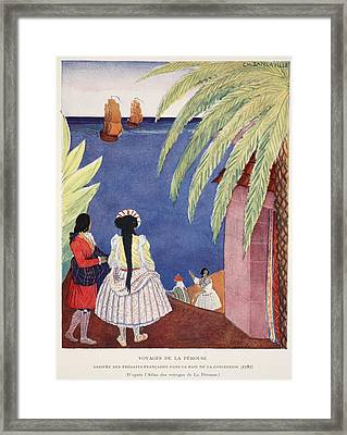 Arrival Of The French Frigates Framed Print by French School