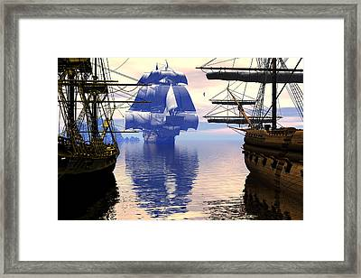 Arrival Of The Man-o-war Framed Print by Claude McCoy