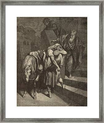 Arrival Of The Samaritan At The Inn Framed Print by Antique Engravings