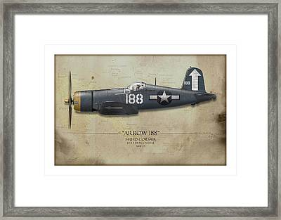 Arrow 188 F4u Corsair - Map Background Framed Print