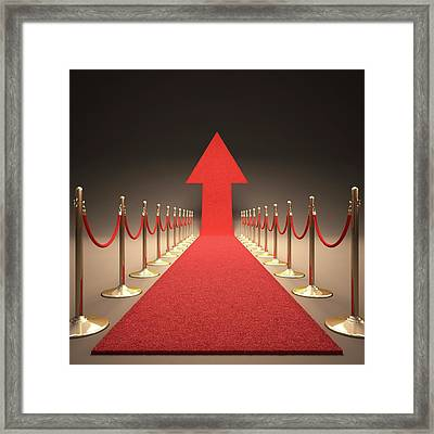 Arrow And Red Carpet Framed Print by Ktsdesign