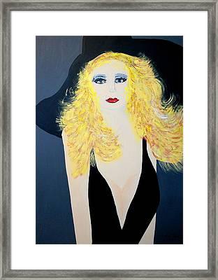 Art Deco Girl With Black Hat Framed Print