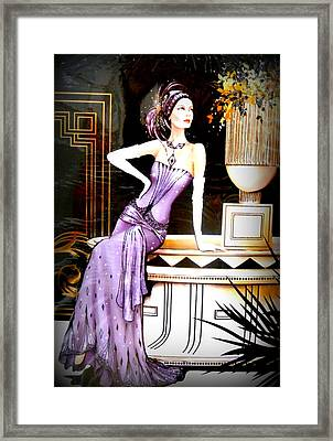 Art Deco Lady In Purple Framed Print by The Creative Minds Art and Photography