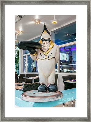 Art Deco Penguin Waiter South Beach Miami Framed Print by Ian Monk