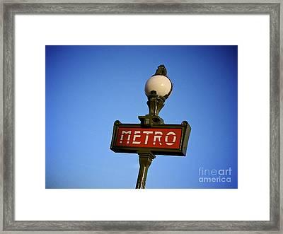 Art Deco Subway Entrance Sign. Paris Framed Print by Bernard Jaubert