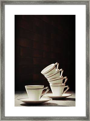 Art Deco Teacups Framed Print by Amanda Elwell