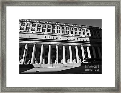 Art Deco Union Station Chicago Illinois Film Noir Style Photo Framed Print by Linda Matlow