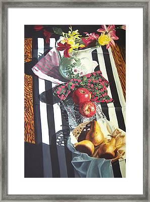 art for sale still life oil painting print Stripes and Fruit Forever  Framed Print by Diane Jorstad