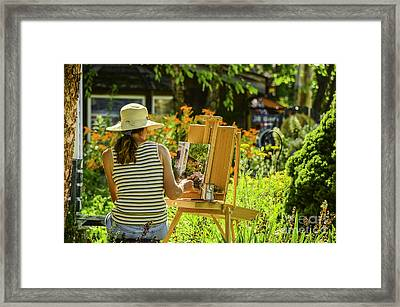 Art In The Garden Framed Print by Mary Carol Story