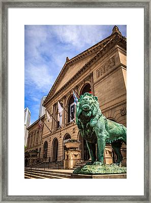 Art Institute Of Chicago Lion Statue Framed Print by Paul Velgos