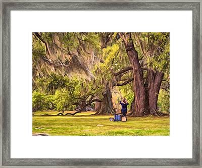 Art Lesson In City Park New Orleans  Framed Print by Steve Harrington