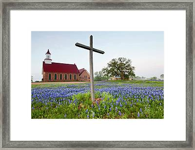 Art Methodist Church And Bluebonnets Framed Print