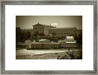 Art Museum And Fairmount Waterworks - Bw Framed Print by Lou Ford