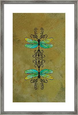 Art Nouveau Damselflies Framed Print by Jenny Armitage