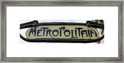 Art Nouveau Metro Sign - Paris Photography Framed Print by Georgia Fowler