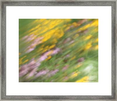 Art Of Floral Movement Abstract - Dancing Healing Flowers - Echinacea And Yellow Coneflowers Framed Print by Alex Khomoutov