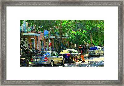 Art Of Montreal Day With Daddy And Yellow Wagon Zooming Our Streets Of Verdun Scene Carole Spandau  Framed Print by Carole Spandau