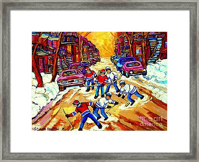 Art Of Montreal Hockey Street Scene After School Winter Game Painting By Carole Spandau Framed Print by Carole Spandau