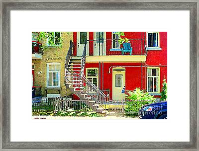 Art Of Montreal Upstairs Porch With Summer Chair Red Triplex In Verdun City Scene C Spandau Framed Print by Carole Spandau