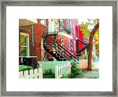 Art Of Montreal White Picket Fence In Verdun Summer Street Scenes Staircases Porches Carole Spandau Framed Print by Carole Spandau