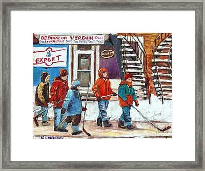Art Of Verdun Depanneur Deli Patisserie Fleuriste Fruits Montreal Paintings Hockey Art Scenes Verdun Framed Print by Carole Spandau
