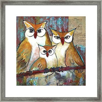 Art Owl Family Portrait Framed Print