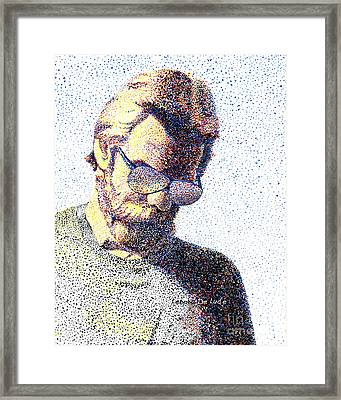 Art Pointillism Male Portrait  Framed Print