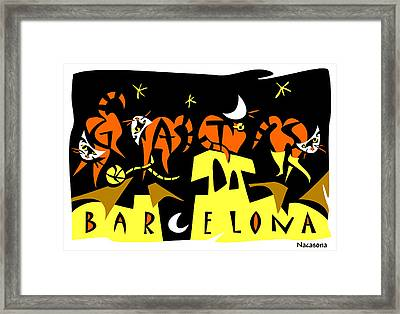 Art Postcard 4 Gats Barcelona Framed Print