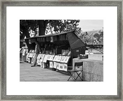 Art Seller On The Left Bank - Paris People Series Framed Print by Georgia Fowler