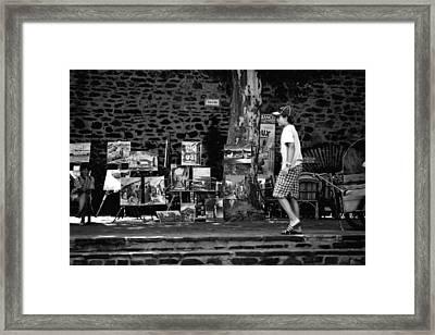 Art Walk - Bw Framed Print by Carrie Warlaumont