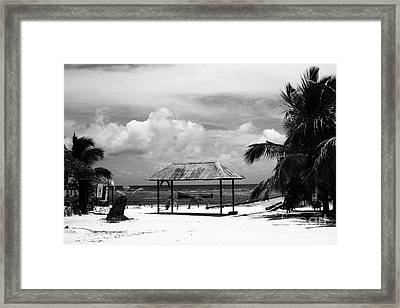 Artful Beach Black And White Framed Print