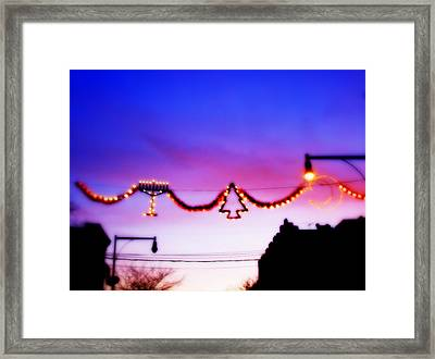 Framed Print featuring the photograph Arthur Avenue Holiday Lights by Aurelio Zucco