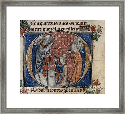 Arthur Draws Sword From Stone Framed Print by British Library