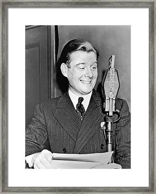 Arthur Godfrey Broadcasting Framed Print by Underwood Archives