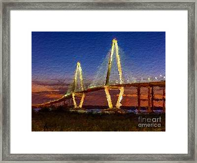 Arthur Ravenel Bridge At Evening  Framed Print