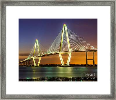 Arthur Ravenel Bridge Twilight Framed Print
