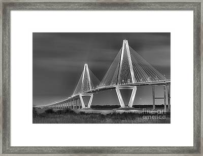 Arthur Ravenel Jr. Bridge In Black And White Framed Print