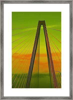 Arthur Ravenel Jr Bridge V Framed Print by DigiArt Diaries by Vicky B Fuller