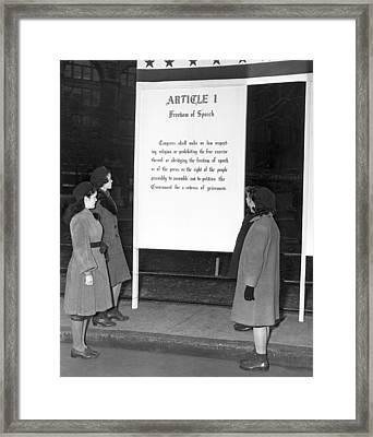 Article 1, Freedom Of Speech Framed Print