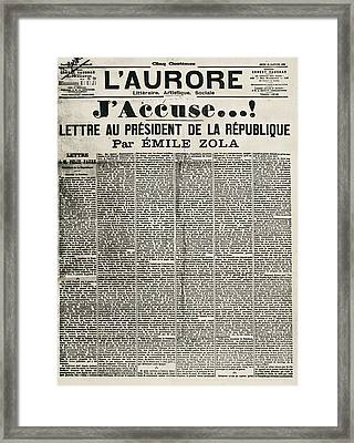 Article By Emile Zola Denouncing Framed Print