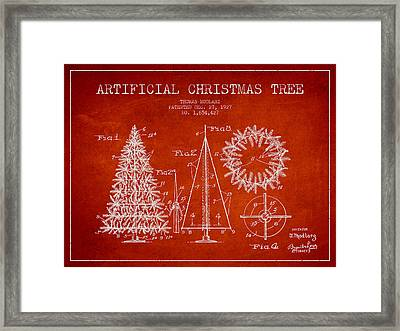 Artifical Christmas Tree Patent From 1927 - Red Framed Print