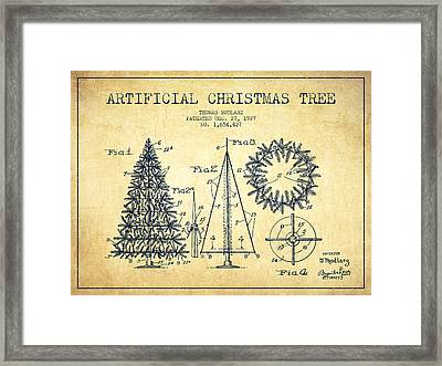 Artifical Christmas Tree Patent From 1927 - Vintage Framed Print by Aged Pixel