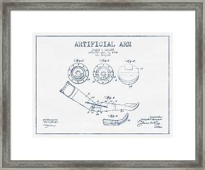Artificial Arm Patent From 1904 - Blue Ink Framed Print by Aged Pixel