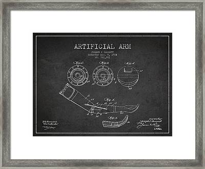 Artificial Arm Patent From 1904 - Dark Framed Print