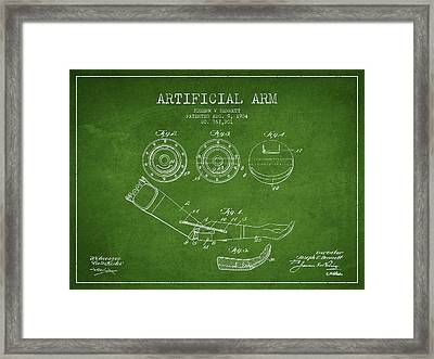 Artificial Arm Patent From 1904 - Green Framed Print