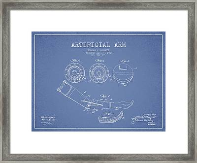 Artificial Arm Patent From 1904 - Light Blue Framed Print