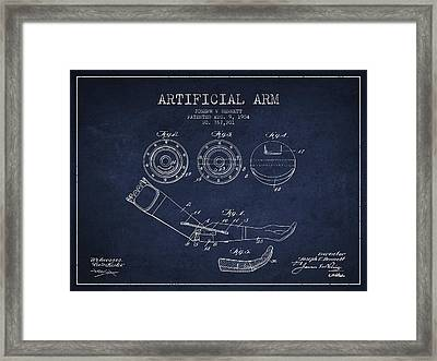 Artificial Arm Patent From 1904 - Navy Blue Framed Print by Aged Pixel